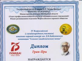 IV Всероссийский вокально-хоровой конкурс им. Д.Б. Кабалевского